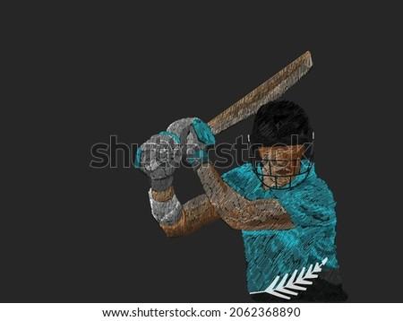 Line Pattern Cricket Batter Player Of New Zealand On Black Background.
