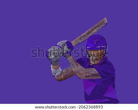 Line Pattern Cricket Batter Player Of Scotland On Purple Background.