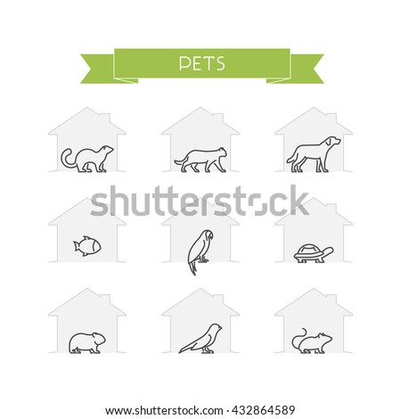 line set of pets vector