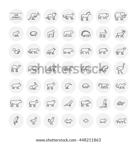 Line set silhouettes of domestic, farm, forest and wild animals. Linear icon chicken, cow, hedgehog, cat, dog and others. Open path.