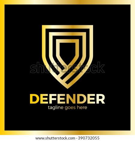 line shield logotype three