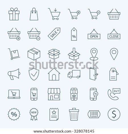 Line Shopping and E-commerce Icons Set. Vector Set of 36 Online Shopping Modern Line Icons for Web and Mobile