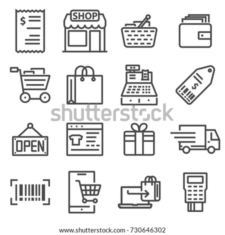 Line Shopping and Retail Icons Set. Vector Symbols