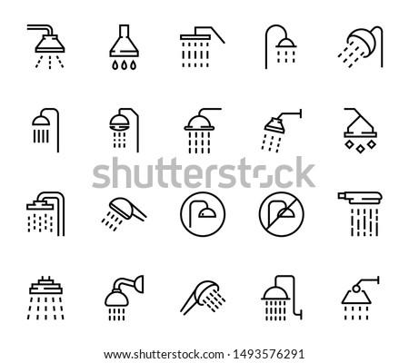 Line shower icon set isolated on white background. Outline bathroom symbols for website design, mobile application, ui. Collection of shower pictogram. Vector illustration, editable strok. Eps10