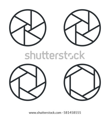 Line shutter aperture vector icons