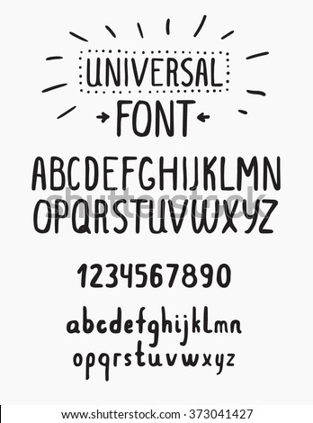 Line simple font. Universal alphabet with small and capital letters, numbers for your design, business