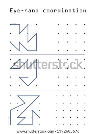 Line study - attention and intelligence activity book. Educational children game, printable worksheet for children. Tracing lines and shapes. Educational game for kids. Combine the points in the figur