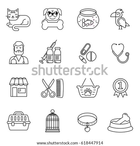 Line style black and white vector pet and vet icons set.  Cat, dog, bird and fish linear symbols. Illustration with goods for animals.