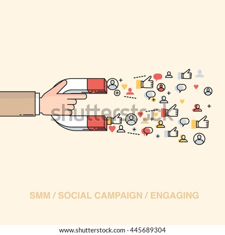 Line style colorful vector illustration concept for digital marketing, social campaign, engaging with followers isolated on stylish background
