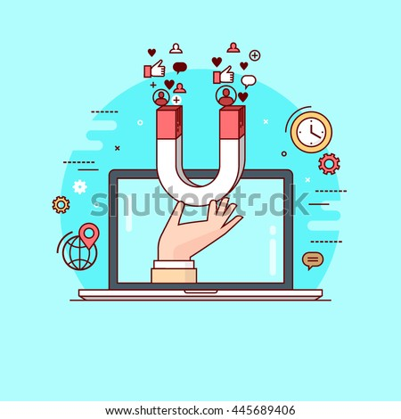 Line style colorful vector illustration concept for digital marketing, social campaign, engaging with followers isolated on bright background