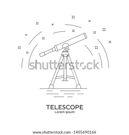 Line style icon of telescope. Telescope logo. Space exploration and adventure symbol. Concept of world explore. Clean and modern vector illustration for design, web.