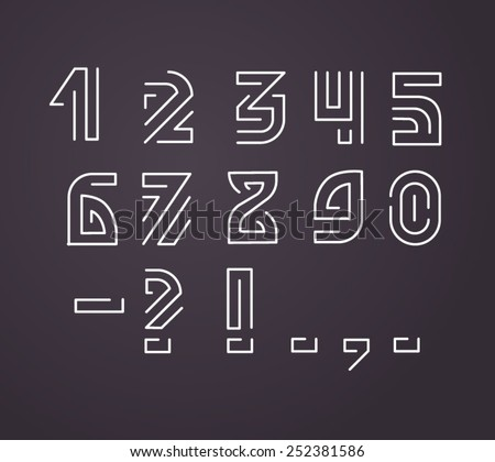 line style vector numerals and