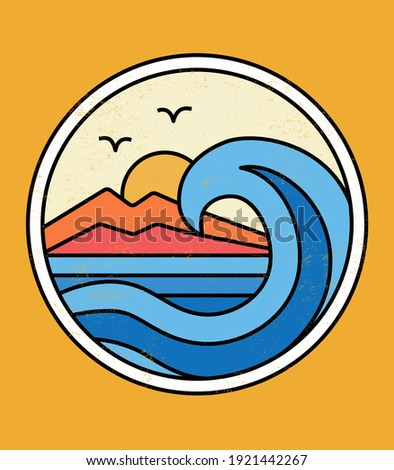 Line style vector surfing badge with surfing slogans. For t-shirt prints, posters and other uses.