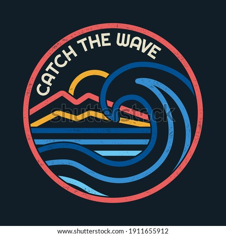 Line style vector Surfing badges with surfing slogans. For t-shirt prints, posters and other uses.