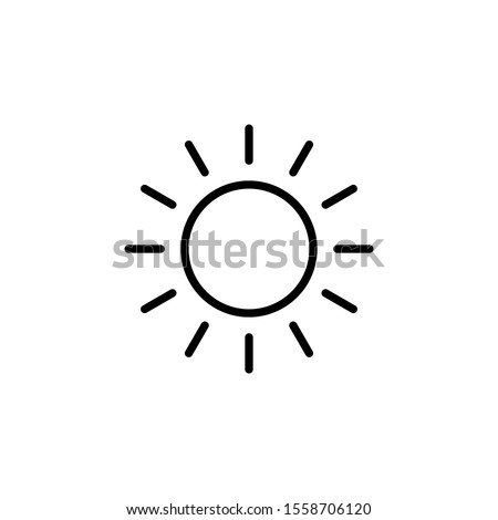 line Sun Icon for Brightness, Intensity Setting icon Vector