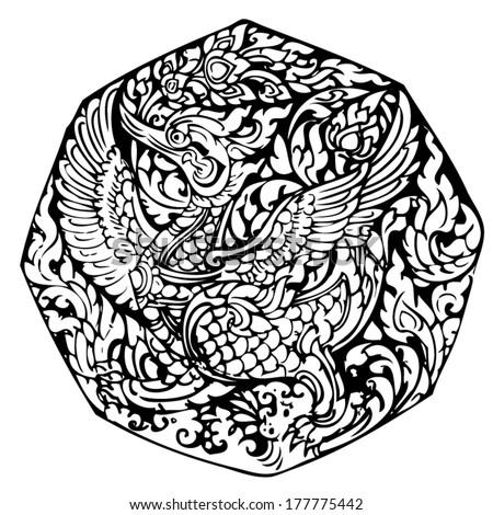 line thai swan pattern   vector