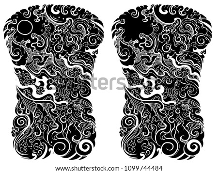Line Thai water wave design for tattoo.Japanese wave for tattoo background.Line Thai is Thailand Style and Tattoo design.
