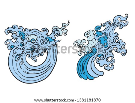 Line Thai wave tattoo.Japanese wave vector set and thai style.Outline Japanese wave dawn from Line Thai style.Thai water wave isolate on white background.