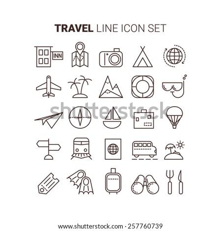 line travel icons vector set best app www web tourism