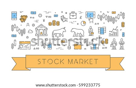 Line vector banner for stock market. Horizontal concept of commodity exchange.