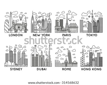 line vector city icons london