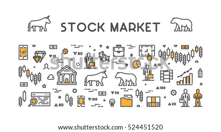 Line vector design concept for stock market. Horizontal banner of commodity exchange.