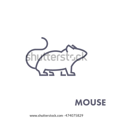 Line vector figure of mouse. Vector outline forest animal for web and design.