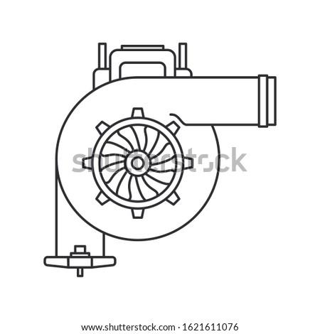 Line vector icon auto moto parts accessories boost turbine. Repair service equipment. Engine elements shop catalog. Vintage vehicle symbol. Motorcycle mechanic. Transportation. Graphic background sign