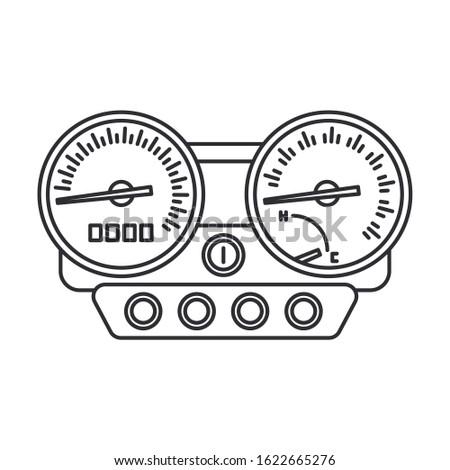 Line vector icon auto moto parts accessories control panel speedometer. Repair service equipment. Engine elements shop catalog. Vintage vehicle symbol. Motorcycle mechanic. Transportation background.