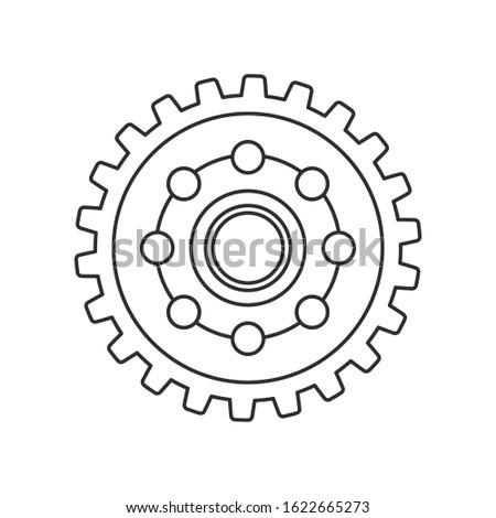 Line vector icon auto moto parts accessories drive gear. Repair service equipment. Engine elements shop catalog. Vintage vehicle symbol. Motorcycle mechanic. Transportation. Graphic element background