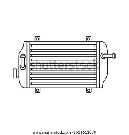 Line vector icon auto moto parts accessories radiator. Repair service equipment. Engine elements shop catalog. Vintage vehicle symbol. Motorcycle mechanic. Transportation. Graphic element background