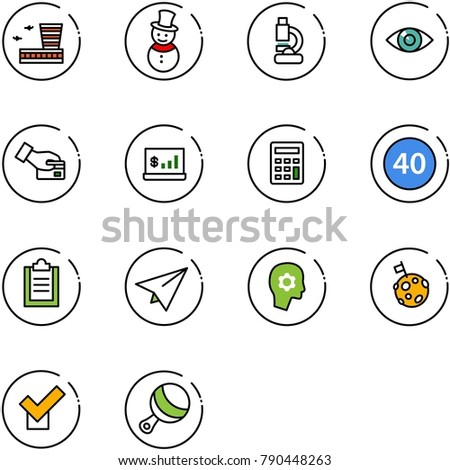 line vector icon set - airport building vector, snowman, lab, eye, card pay, account statistics, calculator, minimal speed limit road sign, clipboard, paper plane, brain work, moon flag, check