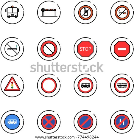 line vector icon set - airport bus vector, barrier, no mobile sign, smoking, prohibition road, stop, way, traffic light, customs, parking, even