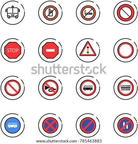 line vector icon set - airport bus vector, no mobile sign, smoking, prohibition road, stop, way, traffic light, horn, customs, parking, even
