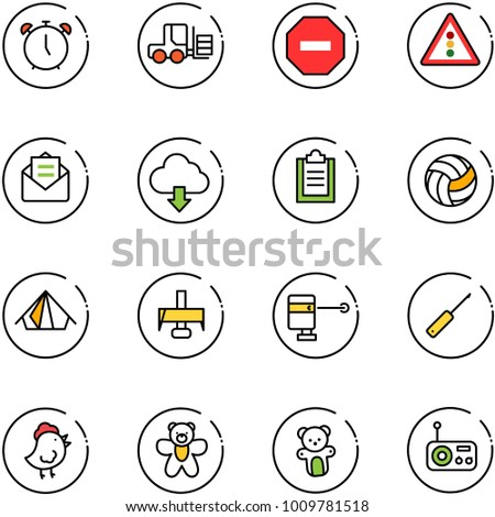 line vector icon set   alarm
