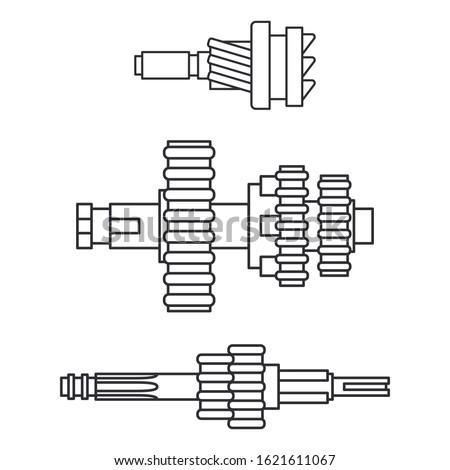 Line vector icon set auto moto parts accessories gear. Repair service equipment. Engine elements shop catalog. Vintage vehicle symbol. Motorcycle mechanic. Transportation. Graphic element background