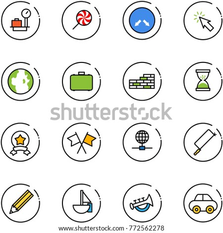 line vector icon set - baggage scales vector, lollipop, detour road sign, cursor, globe, case, brick wall, sand clock, star medal, flags cross, metal hacksaw, pencil, sailboat toy, horn, car