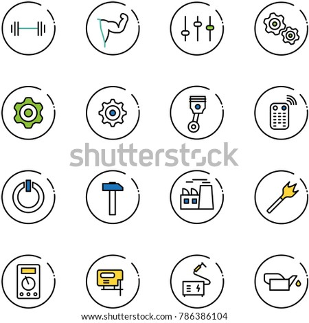line vector icon set   barbell