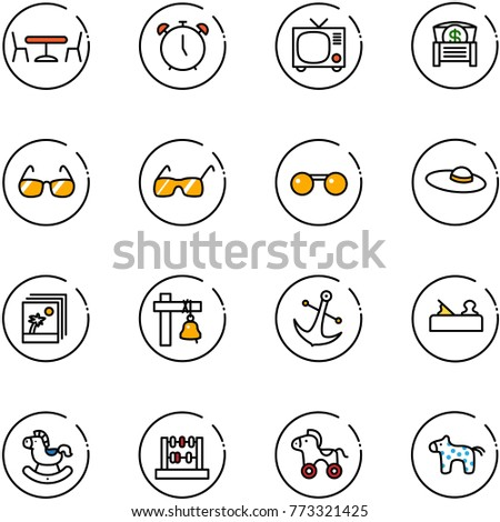 line vector icon set - cafe vector, alarm clock, tv, money chest, sunglasses, woman hat, photo, ship bell, anchor, jointer, rocking horse, abacus, wheel, toy #773321425