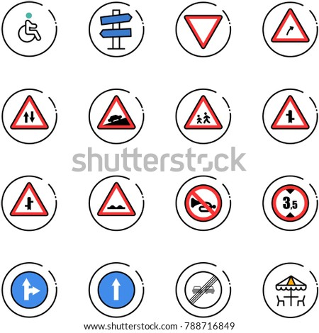 line vector icon set - disabled vector, road signpost sign, giving way, turn right, oncoming traffic, climb, children, intersection, rough, no horn, limited height, only forward, end overtake limit