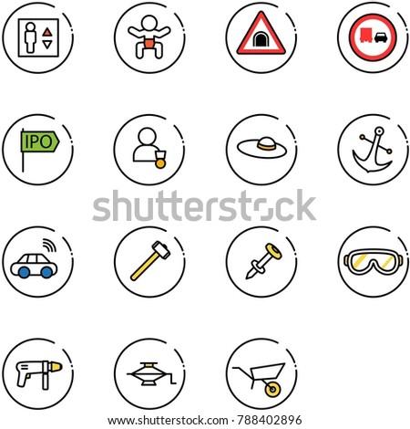 line vector icon set   elevator