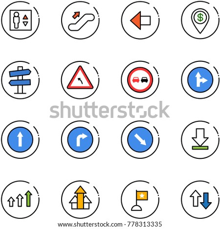 line vector icon set - elevator vector, escalator up, left arrow, dollar pin, road signpost sign, turn, no overtake, only forward right, detour, download, arrows, flag, down