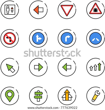 line vector icon set - elevator vector, left arrow, giving way road sign, tunnel, no turn, only forward right, detour, cursor, arrows up, map pin, signpost, wrench