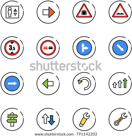 line vector icon set - elevator vector, right arrow, tunnel road sign, rough, limited height, no overtake, only forward, detour, left, undo, arrows up, signpost, down, wrench
