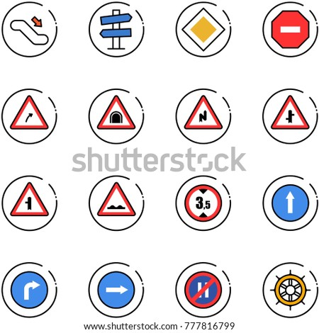 line vector icon set - escalator down vector, road signpost sign, main, no way, turn right, tunnel, abrupt, intersection, rough, limited height, only forward, parking even, hand wheel