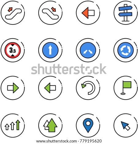 line vector icon set - escalator up vector, down, left arrow, road signpost sign, limited height, only forward, detour, circle, right, undo, flag, arrows, navigation pin, cursor