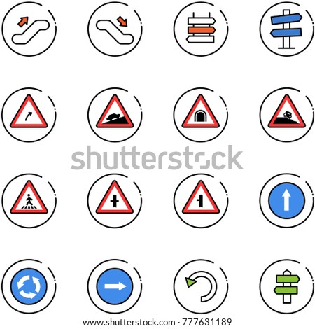 line vector icon set - escalator up vector, down, sign post, road signpost, turn right, climb, tunnel, steep roadside, pedestrian, intersection, only forward, circle, undo