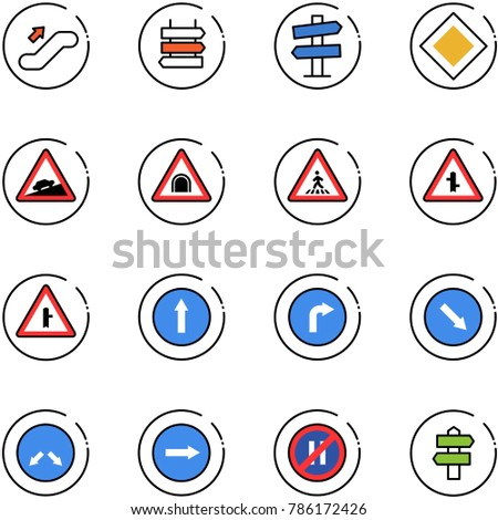 line vector icon set - escalator up vector, sign post, road signpost, main, climb, tunnel, pedestrian, intersection, only forward, right, detour, no parking even