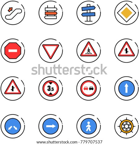 line vector icon set - escalator up vector, sign post, road signpost, main, no way, giving, pedestrian, intersection, limited height, overtake, only forward, detour, right, hand wheel