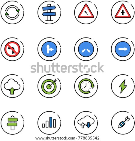 line vector icon set - exchange vector, road signpost sign, turn left, intersection, no, only forward right, detour, upload cloud, target, clock around, lightning, chart, data, dart